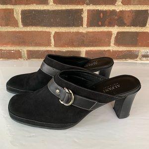 Alfani black leather slip on mules